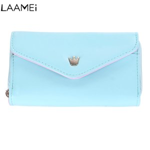 Wholesale Laamei Handbag With Wrist Strap Long Clutch Bag Phone Holder Envelop Wallet Women SolidLeather Multi colors Multifunctional
