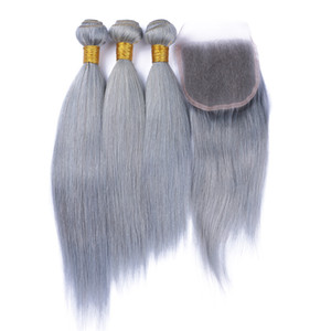 Wholesale human hair bundles silk lace closure for sale - Group buy Sliver Grey Pure Color Straight Human Hair Bundles With Lace Closure Gray Hair Lace Closure Middle Part Silk Straight Malaysian Virgin Hair