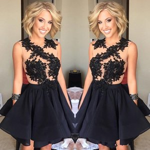 Wholesale short prom dresse resale online - Newest Black Sheer Lace Appliques prom Dresse Cocktail Dresses Illusion Jewel Neck Sleeveless Short Party Homecoming Dresses Club Gowns