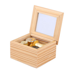 Gold Wood Musical Box 18Notes Clockwork Musical Boxes for Children Gifts on Sale
