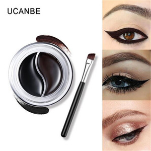 UCANBE Brand 2 Colors Gel Eyeliner Double Color Makeup Palette Shimmer Matte Waterproof Eye Liner With Brush DHL free shipping on Sale
