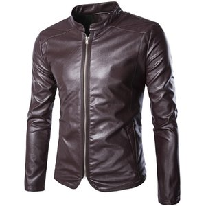 Wholesale- 2017 top selling motorcycle leather jackets autumn business casual pu coats outwear M-5XL AYG140 on Sale