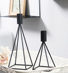 Geometric Line Iron Candlestick Modern Home Furnishing Soft Decoration Cafe Restaurant Candlestick Hand Made Geometric Candlestick on Sale