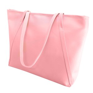 Wholesale Women Faux Leather Handbag Solid Color Tote Bag Zipper Big Fashion Shoulder Bag