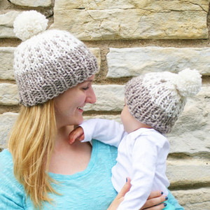 Wholesale Pom Pom Beanie Parent child Hat Winter Warm Caps Knitted Fur Crochet Hats Mom Baby Caps LJJO7098