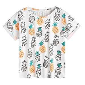 Wholesale 2018 Fashion Summer T Shirts Women Casual Pineapple Print O Neck Short Sleeve High Quality Plain round neck T shirt Plus Size XL