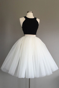 Simple Black And White Ball Gowns For Girls Juniors Party Prom Dress Halter Tulle Satin Two Pieces Knee length Cheap Homecoming Formal Dress on Sale