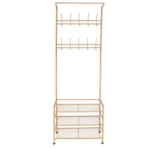 Wholesale 3 Tier Metal Coat Clothes Shoes Stands Steel Rack Shelves Hanger with Hooks