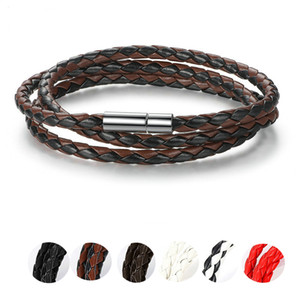 Wholesale Fashion Men Women Weaving Leather Fashion Bracelet With Magnet Clasp Brand New Trendy Bracelets PI0063