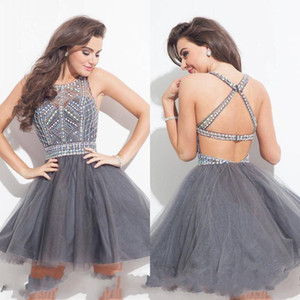 2019 Short Sexy Rhinestone Homecoming Dresses for Juniors Backless A-Line Crystal Beads Tulle Mini Formal Cocktail Party Dress on Sale