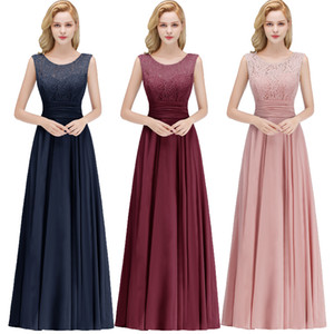 Wholesale New Cheap Real Image Scoop Neck Evening Dresses Chiffon Lace Top Ruched Sleeveless Prom Party Gown Formal Occasion Wear CPS1068