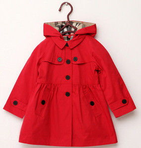 Wholesale new childrens clothing girl spring and autumn princess coat solid color medium long single breasted trench babys outerwear