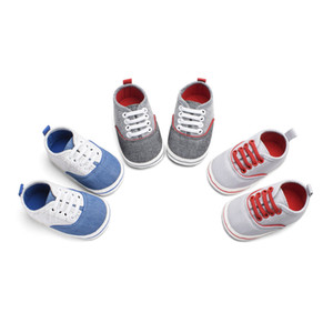 Wholesale Baby Boy Canvas Shoes Patchwork Newbron Infant Prewalker First Walker Elastic Lace up Eyelets Banding Non slip Outsole Indoor Shoes M