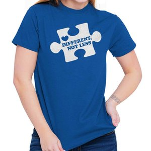 Wholesale Different Not Less Autism Awareness Puzzle Proud T Shirt Tee Funny Unisex Casual tee gift