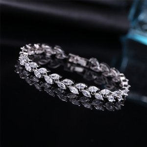 Wholesale BOAKO New Trendy Cubic Zirconia Jewelry Silver Color Leaf Charm CZ Crystal Female Bracelets Bangles For Women X7 M2