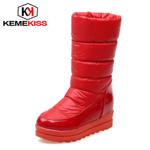 Wholesale KemeKiss Colors Size Woman Short Boots Plush Fur Thick Sole Winter Shoes Woman Half Short Snow Boots Female Footwear