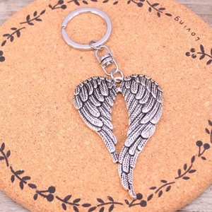 Wholesale Hot sale New key chain key ring silver plated angel wings keychain for car metal Pendant Bag Charm Keyring