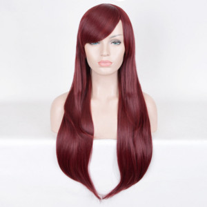 ingrosso capelli colorati rossi-Hot women Hair Deep Red DYED Parrucche Parrucche da vino rosso Corpo Wavy Burgundy J1