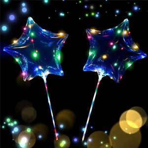 Wholesale LED Light Bobo Balloons Love Heart Star Shape Lighted up Transparent Balloon Colorful for Valentines Day Christmas Party Festival Decora