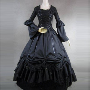 Wholesale European Court Black Party Dress Long Sleeve Cotton Stage Show Masquerade Ball Gowns historical Costume Drop Shipping