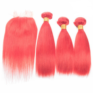 Pink Hair Weaves Straight Hair With Lace Closure Raw Indian Human Hair Extensions With Lace Closure Rose Gold Wefts