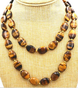 Wholesale LONG INCHES GENUINE NATURAL TIGER EYE GEMS STONE OVAL BEADS NECKLACE