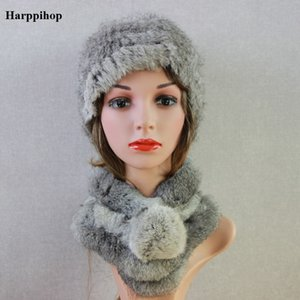 ed74b59c Harppihop women real rabbit fur hats scarves sets 2018 new genuine rabbit fur  hat scarf set