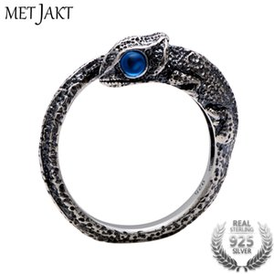 Wholesale MetJakt Vintage Chameleon Lizard Ring with Gems Solid Thai Silver Open Rings for Men and Women Personalized Jewelry