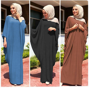 Wholesale Muslim Women Bat Sleeve Kaftan Dress Plus Size Islamic Women Jilbab Dress Women's Maxi Dress