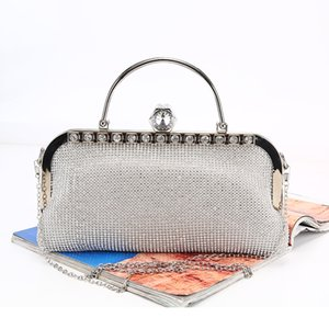 Wholesale Rhinestone dinner bag Studded hand bags Oversized handle with pocket change dinner bag high quality for bridal and lady wear