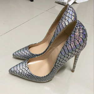 Wholesale Europe and the United States autumn and winter new silver snake skin sharp pointed high heel shoes brand shoes single shoe cm