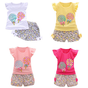 Wholesale Toddler Girls Tops Shorts Suit Design Lollipop Rabbits Cartoon Printed Kids Two piece Clothing Sets Lotus Leaf Sleeve Cotton M T
