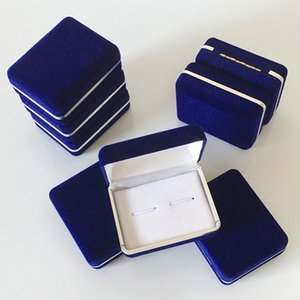 Wholesale 100pcs Blue Velvet Cufflink Holder Wedding Cufflinks Gift Storage Display Case Cuff Links Mens Jewelry Box cm ZA5081