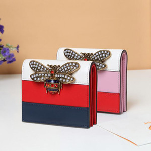 Wholesale Fashion Brand Bee Bag Wallet Genuine Leather Women Short Wallets Short girl buckle wallet for ladies
