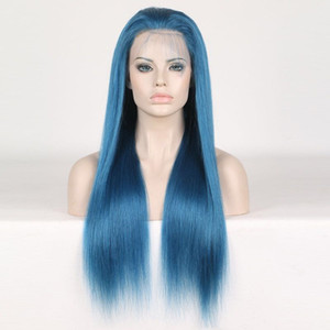 Wholesale Full Lace Human Hair Wigs Blue Colorful Wigs for Woman Pre Plucked With Baby Hair Brazilian Remy Hair Wigs Length inch