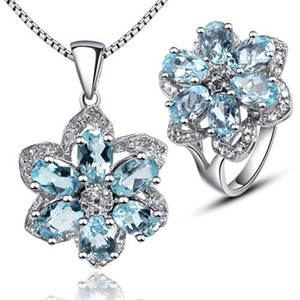 Wholesale Fashion gemstone silver jewelry set for party natural sky blue topaz ring and necklace pendant jewelry set solid silver