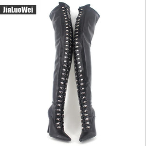 Women Fetish Lace Up Thigh High Boots Flex Black Matt PU Heels Over The Knee Boot Plus size 45,46 colors 12cm Heel