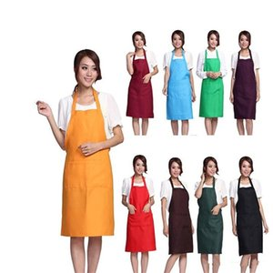 Wholesale Solid Color Apron Kitchen Clean Accessory For Multi Function Household Adult Cooking Baking Aprons