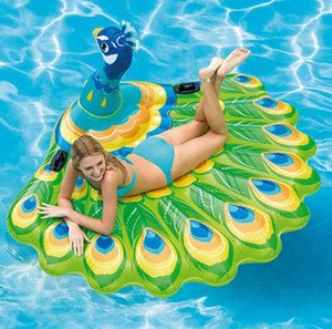 Wholesale leisure Inflatable peacock island floating water lounge chair animal ride large pvc bird swan floats summer water sport beach toy for fun