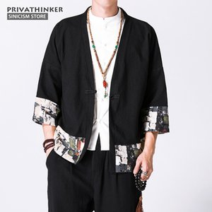 Sinicism Store 5XL Cotton Linen Shirts Men Kimono Chinese Traditional Harajuku Pattern Shirts Male Half Sleeve Shirt Cloths on Sale