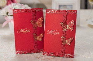 Chinese Wedding Invitations Cards Personalized Red with Gold Stamp Butterful Invitations With Envelope and Seal Free Printing