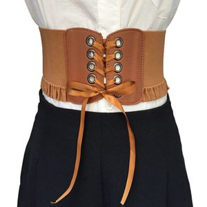 Wholesale Fashion women ultra wide adjustable slim body corset belt brown PU leather retro design comfortable elastic belts accessories