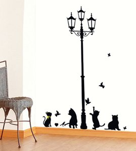 Wholesale New Hot Naughty Cats Birds and Street light Lamp Post Wall Stickers home decoration School Room Kindergarten Wall Sticker Style