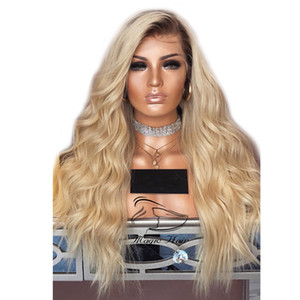 Free Shipping Wavy Ombre T1B 613 Blonde Lace Front Wigs Pre Plucked With Baby Hair 150% 180% 250% Density Human Hair Wigs on Sale