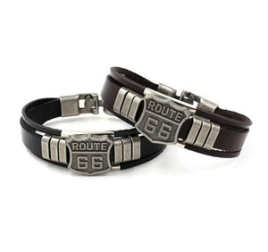 Wholesale route 66 resale online - Classic Fashion ROUTE Rivet Charm Bracelets Punk Retro Multilayer Leather Bracelets Customize Cuff Bangles Jewelry Gifts KKA1910