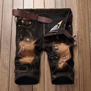 Wholesale Summer Vintage Men Short Jeans Mens Hole Shorts Men Summer Clothes New Fashion Brand Men Short Pants Knee Length Jeans