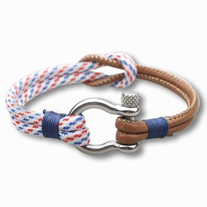 Wholesale Europe And The United States Titanium Steel Jewelry Stainless Steel Buckle Anchor Bracelet Braided Leather Rope Bracelet