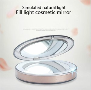 Touch sensitive cosmetic mirror USB charging folding LED cosmetic Mirror mini portable pocket light lamp makeup LED mirror