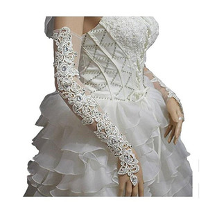 Wholesale Bridal Banquet Gloves Handmade Lace Beads Long Lace Cutout Slit Diamond Wedding Dress