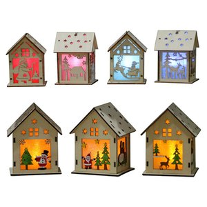 Wholesale DIY Christmas Tree House Hanging Ornaments Xmas Festival Decoration Led Light Wood House Holiday Decor baby Xmas Gift C5389